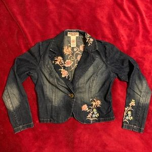 Bisou Bisou Embroidered Denim Jacket